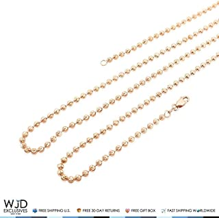 """Solid 14K Rose Gold 3mm Moon Cut Bead Ball Link Dog Tag Chain Necklace 22""""-30"""""""