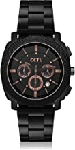 Black Watches for Men Wrist Watch Quartz Simple Analog Watch Wacht, Chronograph Timer Watch Calendar Date Watch Stainless Steel Band Bracelet