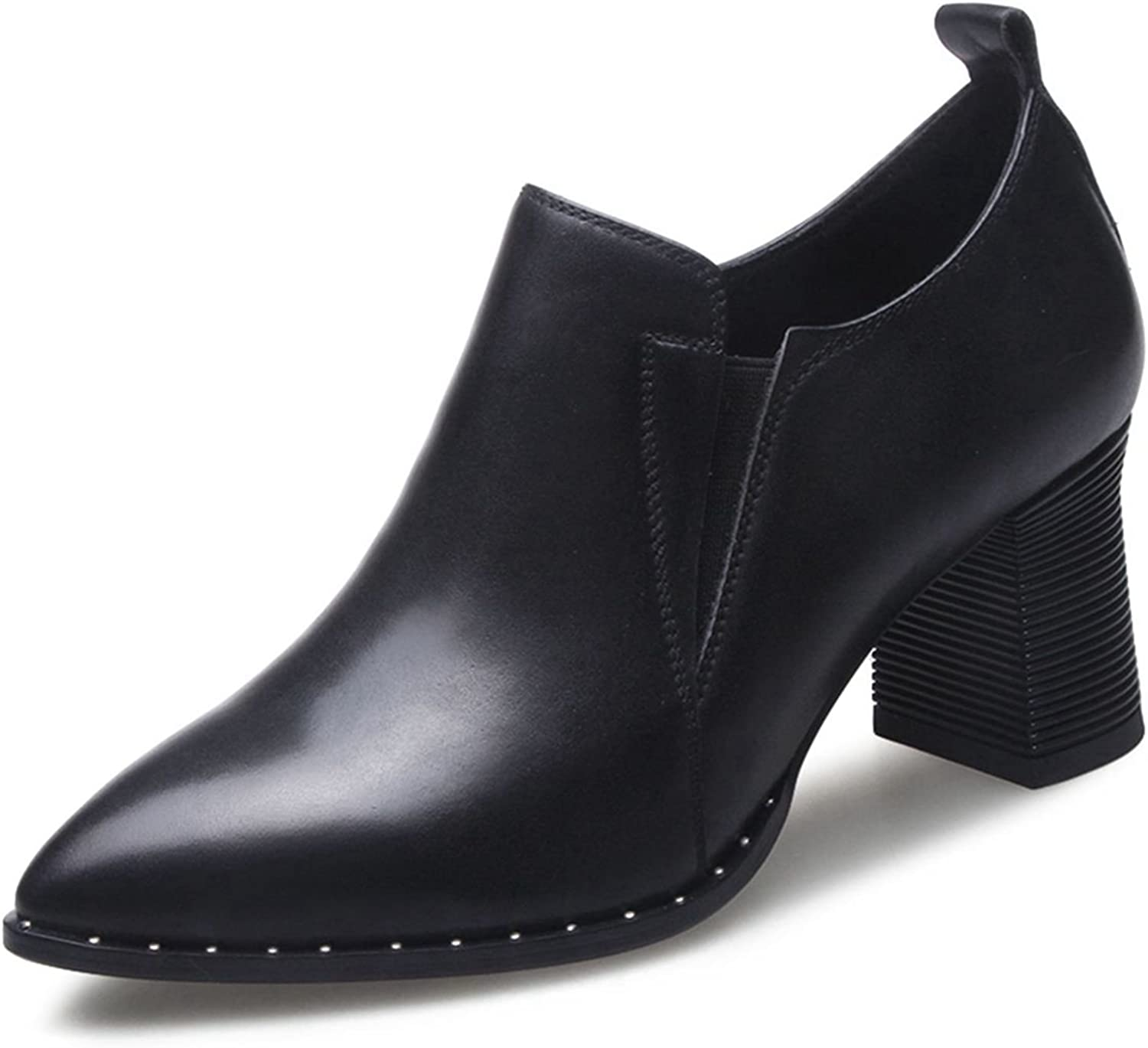 VIMISAOI Women's Genuine Leather Chunky Heel Pointed Toe Chelsea shoes Ankle Booties
