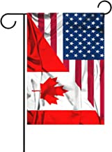 Double Sided American and Canada Friendship Combination A Memorial Day Polyester Garden Flag Banner 12 x 18 Inch for Outdoor Home Garden Flower Pot Decor
