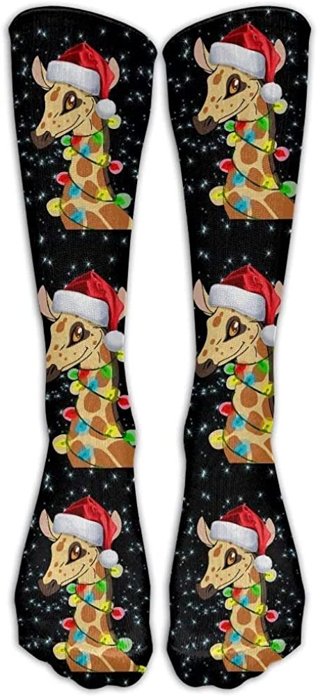 Happy Christmas Giraffe Casual Unisex Sock Knee Long High Socks Sport Athletic Crew Socks One Size