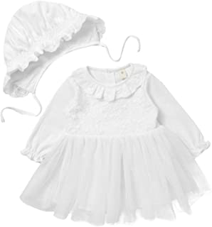 JEATHA Baby Girls Long Sleeves Embroidered Lace Floral Tulle Dress with Hat Infant 2Pcs Baptism Photoshoot Set