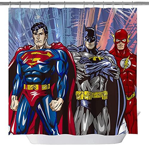 Fafan Superman Batman Flash Classic Duschvorhang für Badezimmer, Marvel Heroes Polyestergewebe, 3D-Druck, Duschvorhang-Set inkl. Haken