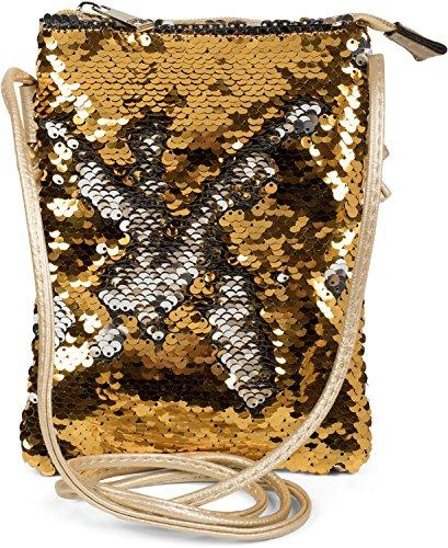 styleBREAKER Mini Bag Umhängetasche mit Wende-Pailletten, Schultertasche, Handtasche, Tasche, Damen 02012240, Farbe:Gold/Silber