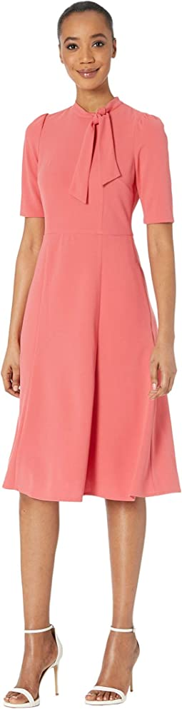 Short Sleeve Stretch Knit Crepe Fit-and-Flare with Tie-Neck