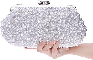 Glitter Faux Pearl Beaded Women's Clutch Bag, Ladies Evening Bag Bridal Wedding Bag Handbag Prom Bag Purse,White,6 * 13 * 25cm