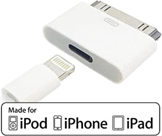 8 Pin Female to 30 Pin Male Adapter | Charge & Sync Connector | Compatible with Smartphones, Tablets, Cars, Sound-Docks and More | White