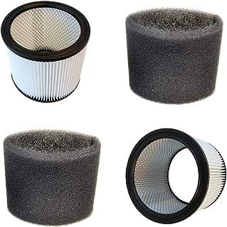 HQRP 2-Pack Cartridge Filter and 2-Pack Foam Sleeve for Shop-Vac QPL625 QPL650 QXL30ATS VN92650C Vacuum Cleaner