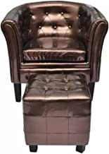 Festnight Cube Armchair Leather Single Sofa Chair with Ottoman Footrest Armrest Tub Barrel Club Seat Chair Upholstery Living Room Home Office Reception Furniture (Brown)