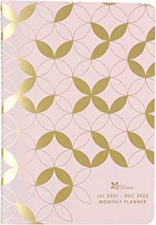 Monthly Petite Planner in Mid Century Circles, 18 Months, July 2021- December 2022, with Gold Metallic Mid Century Circle...