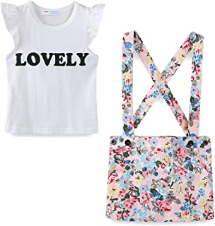 LittleSpring Little Girls Skirt Clothes Sets Lovely Floral Outfits