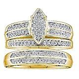 Juego de trío de anillos de compromiso de oro de 14 quilates con diamante redondo de 0,25 quilates y micro pavé para hombre y mujer