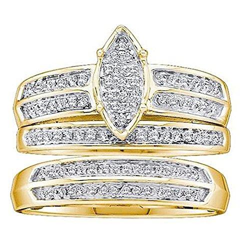 Juego de trío de anillos de compromiso de oro de 14 quilates con diamante redondo de 0,25 quilates y micro pavé para hombre y mujer Amarillo