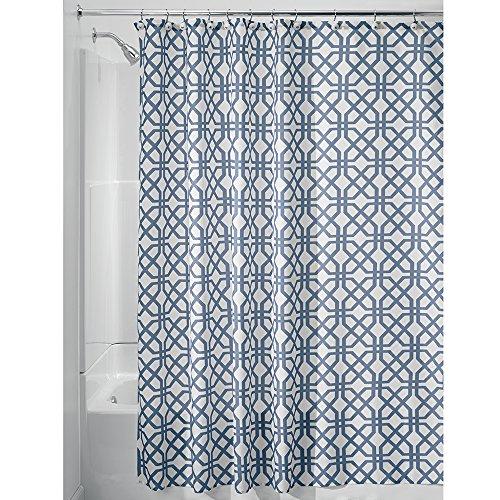 InterDesign Trellis rideau de douche textile, 180,0 cm x 200,0 cm rideau douche et baignoire en polyester, cloison douche à motif treillis, bleu