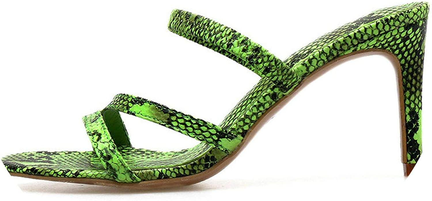 Monicas-Dream 2019 Sexy Serpentine Green Women's Sandals Open Toe shoes High Heels 6.5cm Casual Sandals Slippers shoes