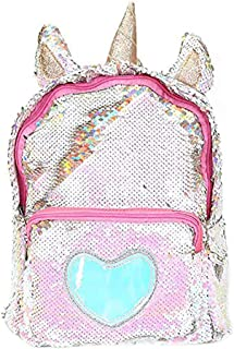 Magibag Unicorn Sequin Backpack Glitter Shining Bag Lovely Heart Casual Travel Daypack for Girls (Gold)