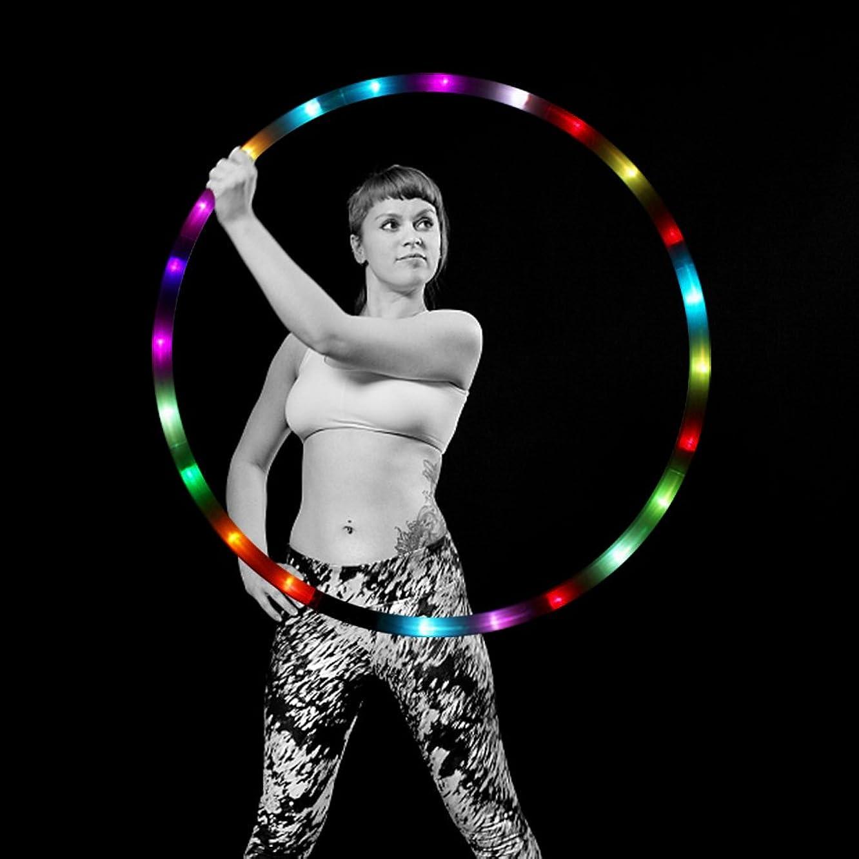 初期のジェット部屋を掃除するLEDフラフープWeightedダンス& Fitness Glow Light Up Hoola Hoopsの変更の大人と子供、24色Strobing LEDライト、8セクション取り外し可能デザイン、ポータブルHula Hoops 36?
