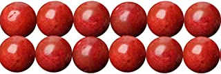 Coral Gemstone Beads in Bulk Supplies 10mm Round Red Bamboo Coral Beads One Full Strand 15 Inches Apx 36 Pcs ( Not Real Coral )