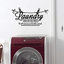 Decalque de citações de lavanderia MoharWall – Lavar a seco, repetir tudo sai na lavagem, decoração de adesivos de vinil a...