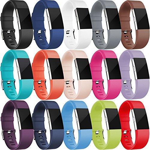 HUMENN Lot de 15Bracelets de Rechange pour Fitbit Charge 2, Souples et réglables, avec Boucle Classique, Taille S