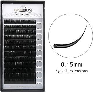 Lashview Eyelash Extensions Individual Mink Eyelash B Curl Thickness 0.15mm Length 8mm1, 9mm1, 10mm2, 11mm2, 12mm2, 13mm2, 14mm1, 15mm1 Assort Mixed In One Tray