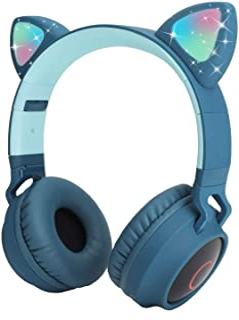 Coloridos auriculares inalámbricos Bluetooth para niños, LED con micrófono, tiempo de reproducción de 12 horas, sonido estéreo, Bluetooth 5.0, plegables, micrófono inalámbrico/con cable sobre la oreja para estudiar, tableta, avión y escuela.