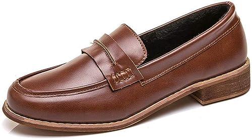 Mocassins Vintage Rugueux avec avec avec des Chaussures Simples Printemps Grande Taille étudiants Femmes Sauvages Chaussures Femmes Confortables 601