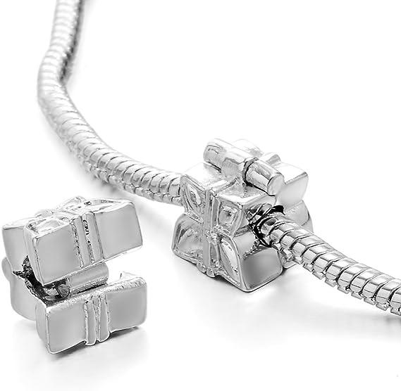 16 cm 5 braccialetti a serpente con chiusura placcata in argento bianco Rubyca