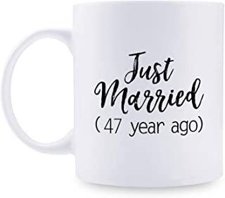 47th Anniversary Gifts - 47th Wedding Anniversary Gifts for Couple, 47 Year Anniversary Gifts 11oz Funny Coffee Mug for Couples, Husband, Hubby, Wife, Wifey, Her, Him, just married