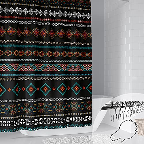 DESIHOM Aztec Boho Shower Curtain with 12 Metal Hooks Bohemian Shower Curtain Tribal Shower Curtain Southwest Shower Curtain Polyester 72x72 Inch