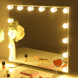 FENCHILIN Large Vanity Mirror with Lights, Hollywood Lighted Makeup Mirror with 15 Dimmable LED Bulbs for Dressing Room & Bedroom, Tabletop or Wall-Mounted, Slim Metal Frame