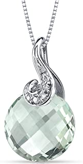 14 Karat White Gold 3.25 Carats Round Checkerboard Cut Green Amethyst Diamond Pendant