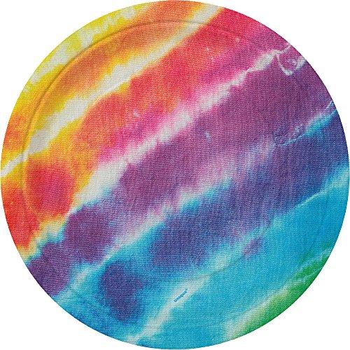 Unique Party 99104 - 18cm Rainbow Tie Dye Party Plates, Pack of 8