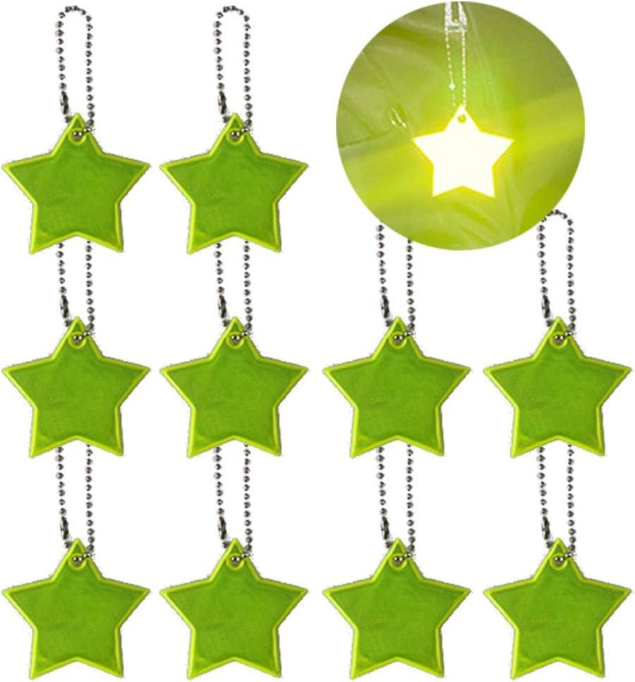 lijun 10pcs r/éflecteurs de s/écurit/é pour Enfants Porte-cl/és /étoiles r/éfl/échissantes Porte-cl/és r/éflecteur s/ûr