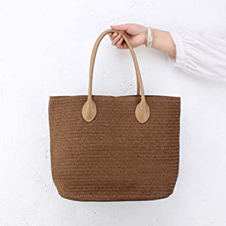Retro Woven Handbag, Women's Paper Rope Straw Bag, One-Shoulder Woven Handbag Messenger Bag, Holiday Beach Casual Bag, Leather Handle, 31 * 43Cm