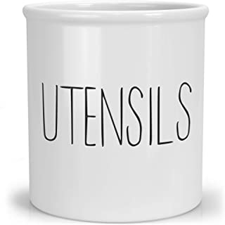 """Barnyard Designs Ceramic Utensil Crock Holder for Kitchen Counter, Rustic Farmhouse Countertop Decor, French Country Organizer Caddy for Cooking Utensils, Spatulas and Mixing Spoons, White, 5.5"""" x 6"""""""