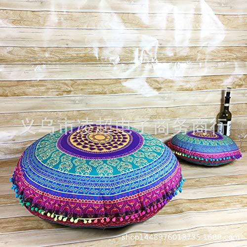 YB&GQ Redondo Boho Mandala Hippie Cojin Zafu Meditación Cubrir,Decorativo Lanzar Almohada Puff Otomana Cubierta Extraíble,32' Bohemio Funda De Almohada De Suelo