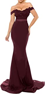 Women's Off The Shoulder Lace Mermaid Prom Party Gowns Bridesmaid Evening Dresses