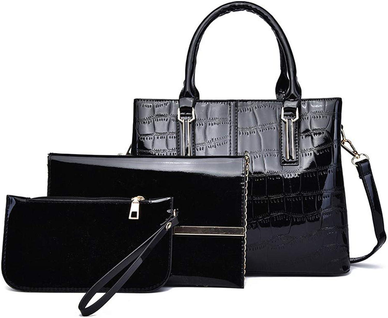 NZZNB Women's Bag Fashion Patent Leather Glossy Large-Capacity Crocodile to Bag Classical Shoulder Bag Satchel Simple Bag Wallet 3Pcs Top-Handle Handbags
