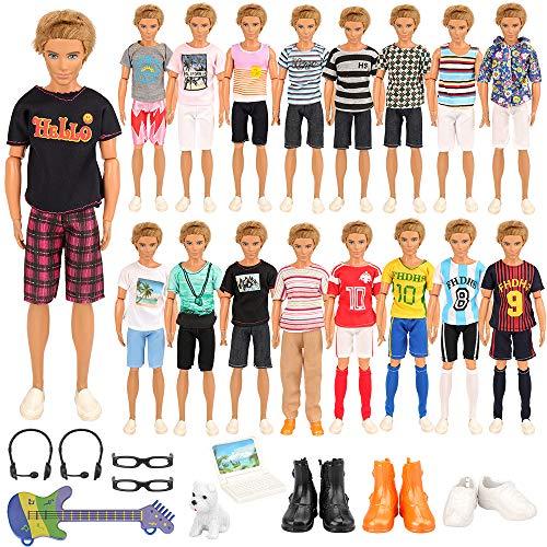 Miunana Lot 22 = 12 Freizeitbekleidung + 3 Schuhe + 2 Brillen + 2 Headset + 1 Laptop + 1 Gitarre + 1 Hund für Ken Puppen