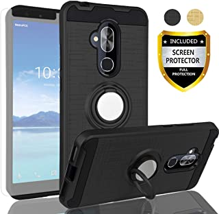 AYMECL Alcatel 7 Phone Case,Alcatel 7 Folio/T-Mobile Revvl 2 Plus Case with HD Screen Protector,360 Degree Rotating Ring Holder Dual Layer Full-Body Protective Cases Cover for Alcatel 7-ZR Black