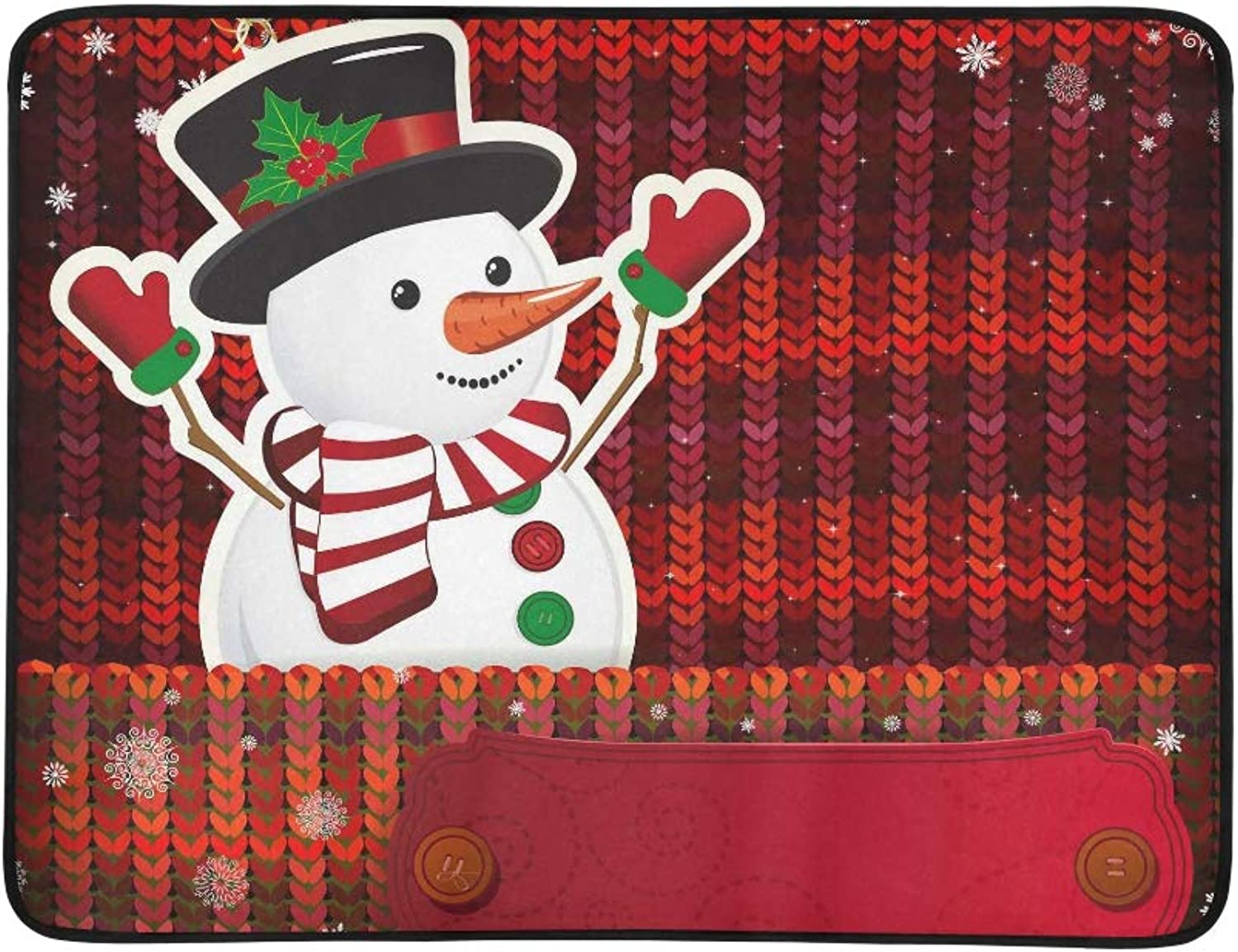 Christmas Decorations On Handmade Knitted Backgrou Pattern Portable and Foldable Blanket Mat 60x78 Inch Handy Mat for Camping Picnic Beach Indoor Outdoor Travel