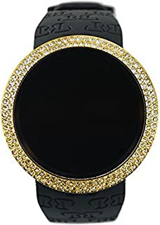 Iced Out Bling Lab Diamond Gold Black Digital Touch Screen Sports Smart Watch Silicone Band
