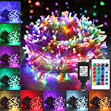 Color Changing Christmas String Lights, 66ft 200 LED 16 Colors Led String Lights Outdoor, Fairy Twinkle Tree Lights with Remote & Timer Plug in for Room Indoor Wedding Party Decorations Waterproof