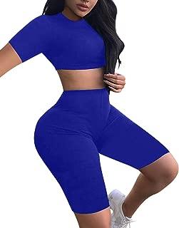 BEAGIMEG Women's Sexy 2 Piece Outfit Crop Top Bodycon High Waist Shorts