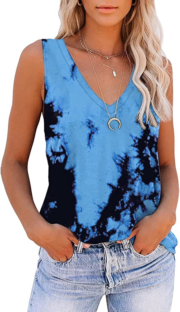 SAUKOLE Women Summer Casual Sleeveless Tank Tops Cute Printed Loose Fit Fashion V Neck Tanks Tunic Shirts