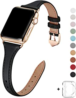 WFEAGL Leather Bands Compatible with Apple Watch 38mm 40mm 42mm 44mm, Top Grain Leather Band Slim & Thin Wristband for iWatch Series 5 & Series 4/3/2/1 (Black Band+Gold Adapter, 42mm Small & Middle)