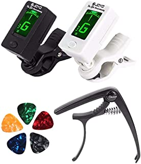 Guitar Tuner Clip-On Tuner Digital Electronic Tuner Acoustic with LCD Display for Guitar, Bass, Violin, Ukulele Include Gu...