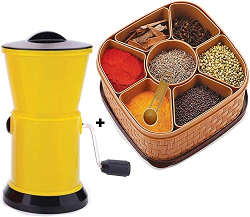 Today life style Combo Offer Pack of 2 1 pcs Unbreakable wasable airtight Masala Box and Free 1 pcs Vegetable and Dry Fruit Cutter with Stainless Steel Blades for Kitchen Multipurpose use