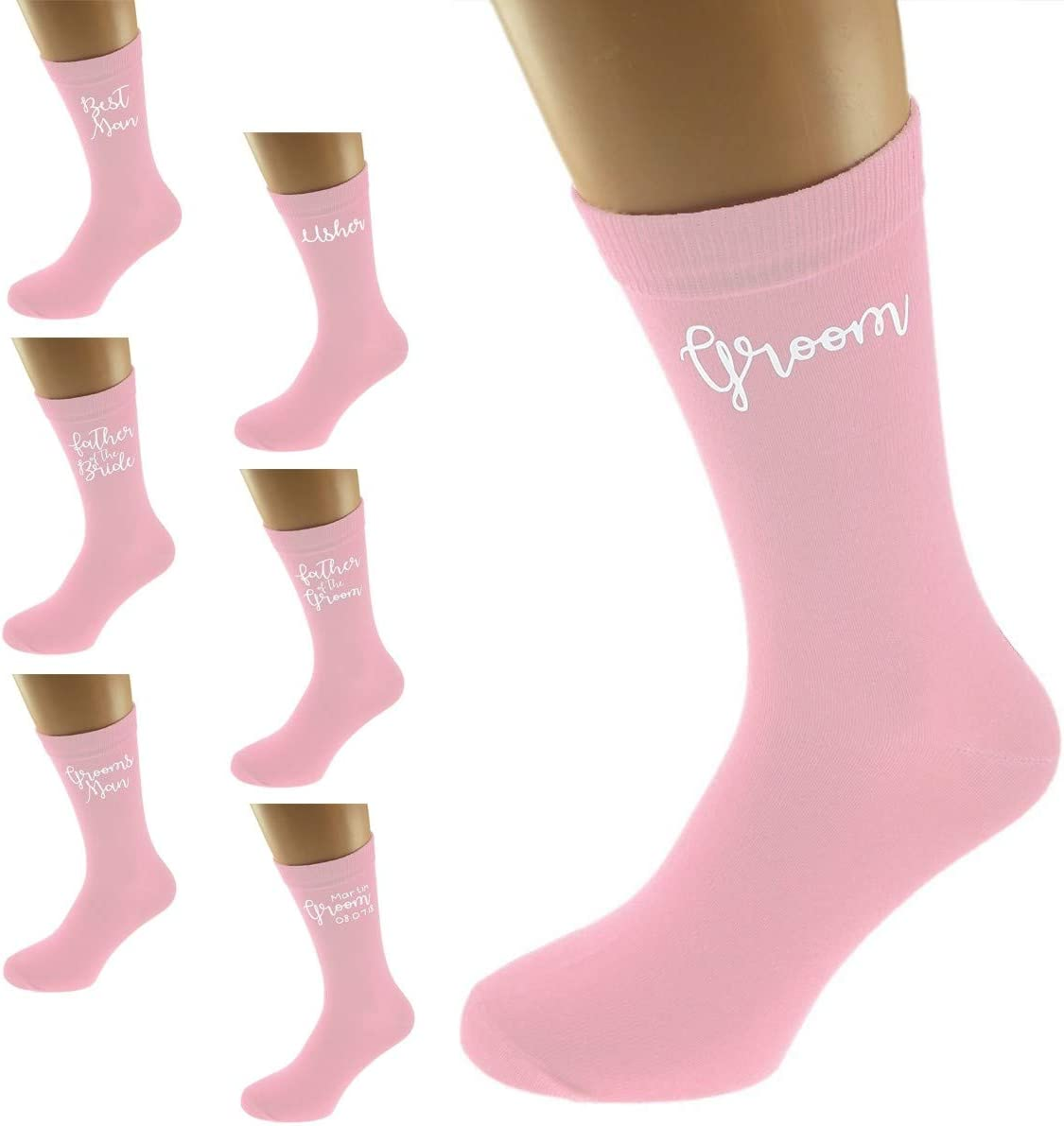 Mens Pale Pink Funky Wedding Role Socks UK 5-12